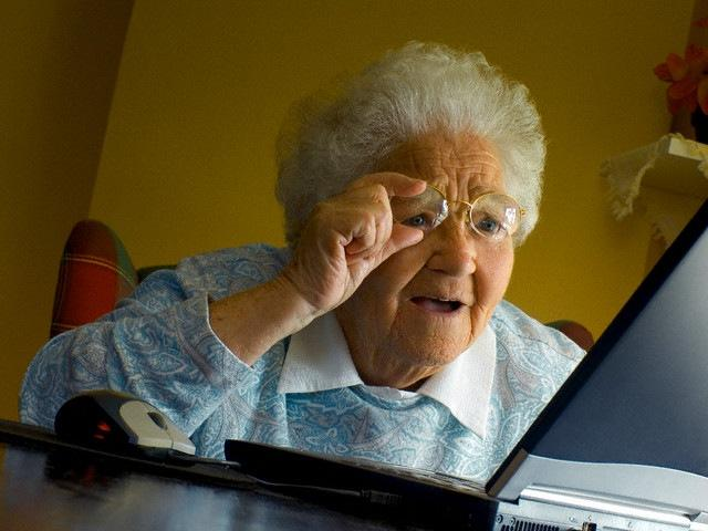 Image result for grandma reading computer