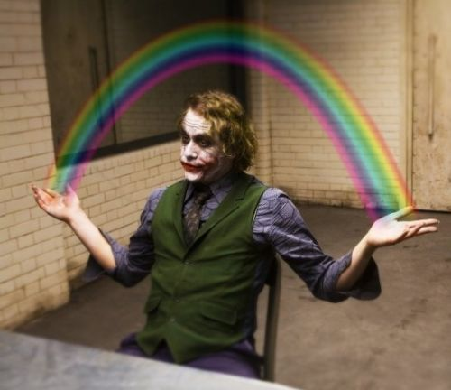 Joker Rainbow Hands Blank Meme Template