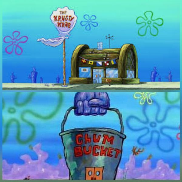Krusty Krab Vs Chum Bucket Blank Meme Template