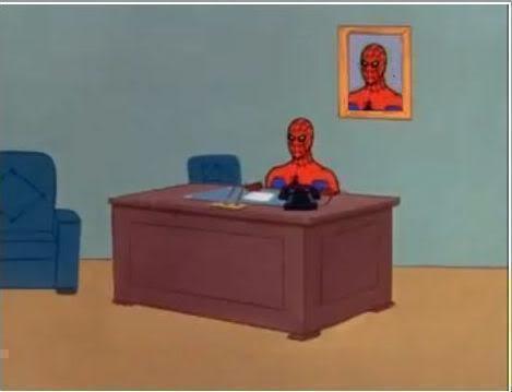 Spiderman Computer Desk Blank Meme Template