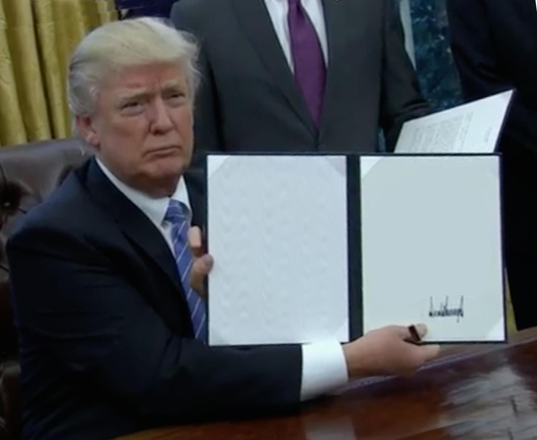 High Quality Trump Bill Signing Blank Meme Template